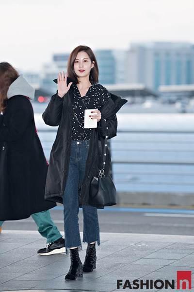 [패션엔 포토] 서현, 시크한 뉴요커 스타일 롱패딩 패션 '화보같은 출국길'