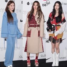 [패션엔 포토] 효민·황보·장재인, '카이' 컬렉션 달군 원컬러 vs 컬러블록